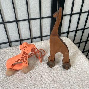 Hape Push & Pull Giraffe Wooden Orange